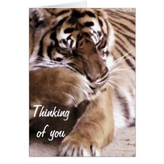 Tigre avec un heart_ carte de vœux