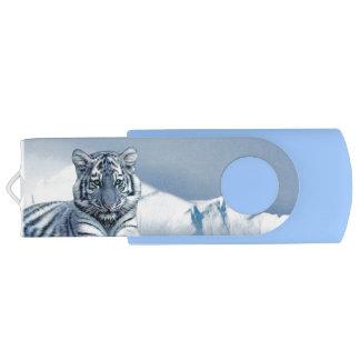 Tigre blanc bleu clé USB