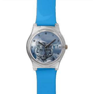 Tigre blanc bleu montres bracelet