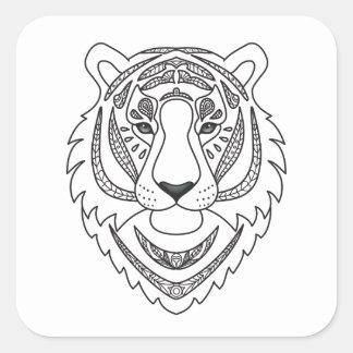 Tigre blanc inspiré sticker carré