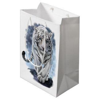 Tigre blanc sac cadeau moyen