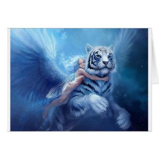 Tigre blanc volant avec l'ange carte de vœux