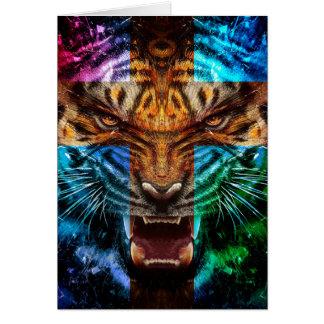 Tigre croisé - tigre fâché - visage de tigre - le cartes