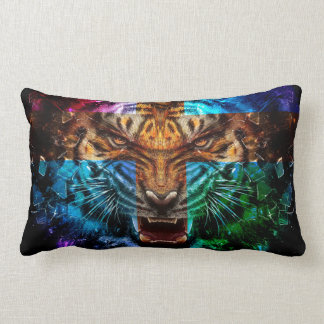 Tigre croisé - tigre fâché - visage de tigre - le coussin rectangle