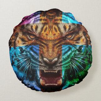 Tigre croisé - tigre fâché - visage de tigre - le coussins ronds