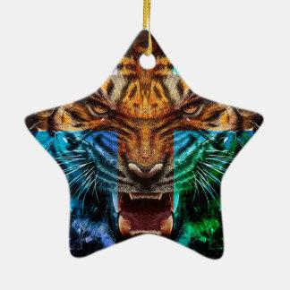 Tigre croisé - tigre fâché - visage de tigre - le ornement étoile en céramique