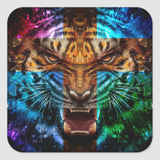 Tigre croisé - tigre fâché - visage de tigre - le sticker carré