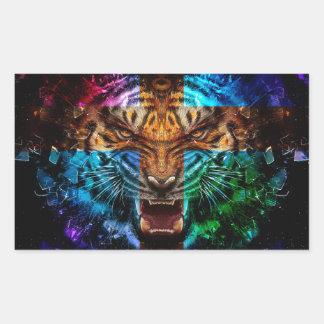 Tigre croisé - tigre fâché - visage de tigre - le sticker rectangulaire