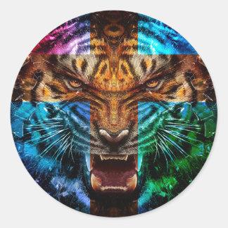 Tigre croisé - tigre fâché - visage de tigre - le sticker rond