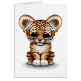 Tigre CUB adorable de bébé sur le blanc Carte De Vœux
