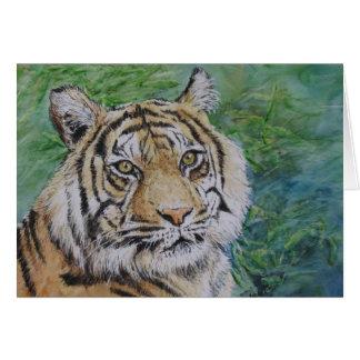 tigre dans la carte en bambou