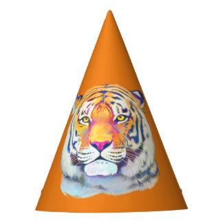 Tigre dans le chapeau d'anniversaire de couleurs