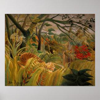 Tigre dans une tempête tropicale par Henri Posters
