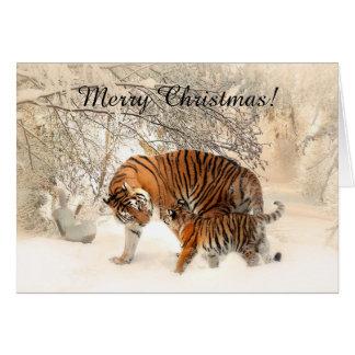 Tigre de bébé et maman de tigre dans une forêt carte de vœux