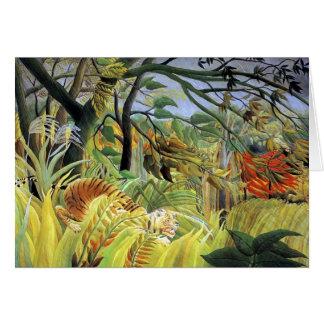 Tigre de Henri Rousseau- dans une tempête Carte De Vœux
