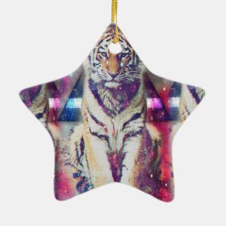 Tigre de hippie - art de tigre - tigre de triangle ornement étoile en céramique