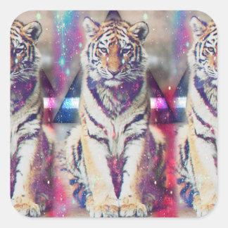 Tigre de hippie - art de tigre - tigre de triangle sticker carré