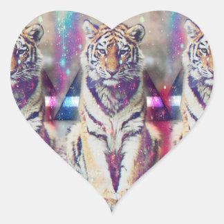 Tigre de hippie - art de tigre - tigre de triangle sticker cœur