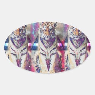Tigre de hippie - art de tigre - tigre de triangle sticker ovale