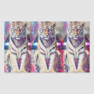 Tigre de hippie - art de tigre - tigre de triangle sticker rectangulaire