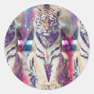 Tigre de hippie - art de tigre - tigre de triangle sticker rond