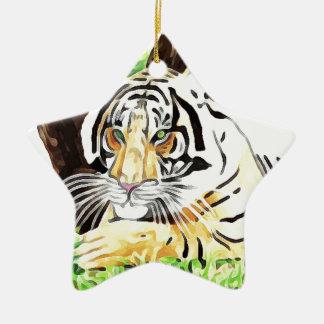 Tigre de safari ornement étoile en céramique