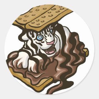 Tigre de Smore Sticker Rond