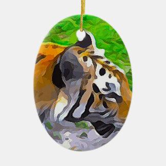 Tigre d'objet exposé ornement ovale en céramique