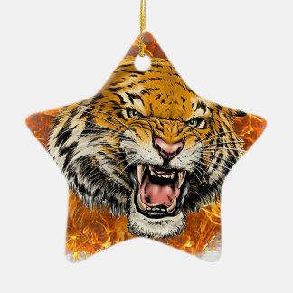 tigre en flamme ornement étoile en céramique
