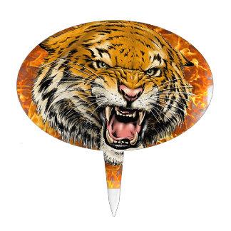 tigre en flamme étiquettes à gâteau
