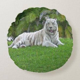 Tigre et palmiers blancs de sourire coussins ronds