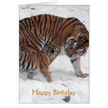 Tigre et petit animal dans la carte d'anniversaire