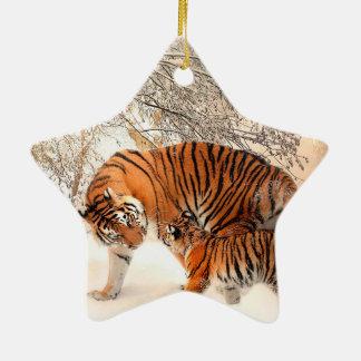 Tigre et petit animal - tigre ornement étoile en céramique