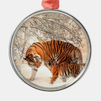 Tigre et petit animal - tigre ornement rond argenté