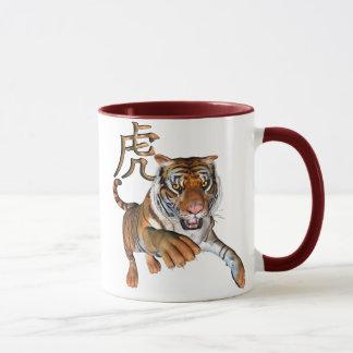 Tigre et symbole chinois mug
