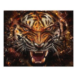 Tigre fâché cassant Yelow en verre Prospectus 11,4 Cm X 14,2 Cm