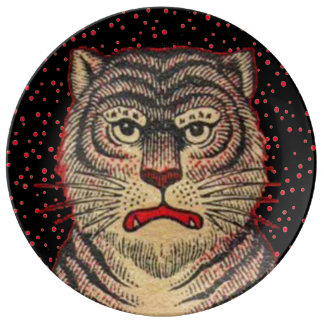 Tigre féroce rayé asiatique vintage assiette en porcelaine