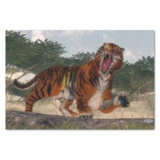 Tigre hurlant - 3D rendent Papier Mousseline
