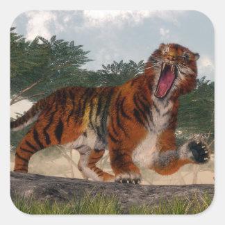 Tigre hurlant - 3D rendent Sticker Carré