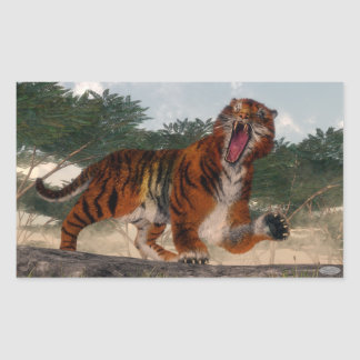 Tigre hurlant - 3D rendent Sticker Rectangulaire