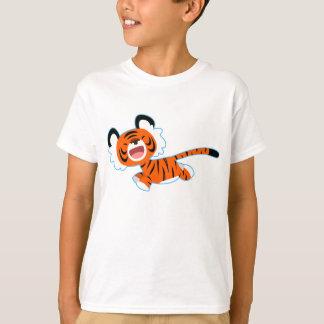 Tigre mignon de bande dessinée sur le T-shirt de
