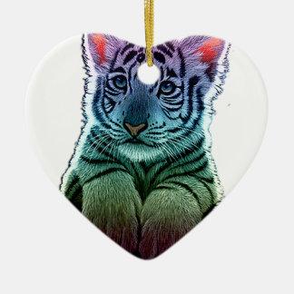 tigre multi colors ornement cœur en céramique