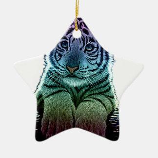 tigre multi colors ornement étoile en céramique