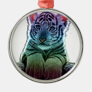 tigre multi colors ornement rond argenté