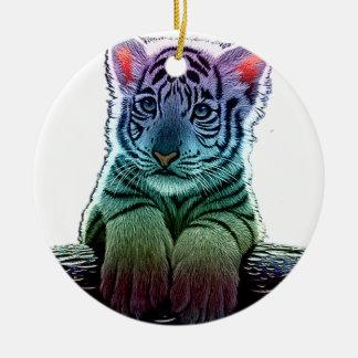 tigre multi colors ornement rond en céramique