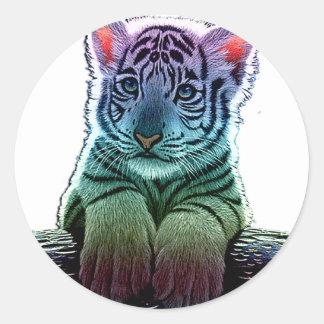 tigre multi colors sticker rond