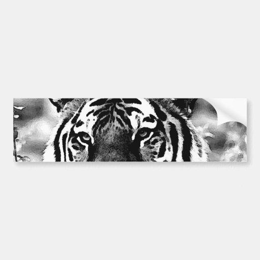 tigre noir et blanc adh sifs pour voiture zazzle. Black Bedroom Furniture Sets. Home Design Ideas