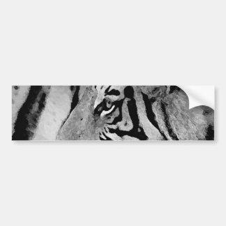 Tigre noir et blanc autocollant pour voiture