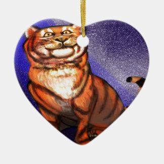 Tigre Ornement Cœur En Céramique