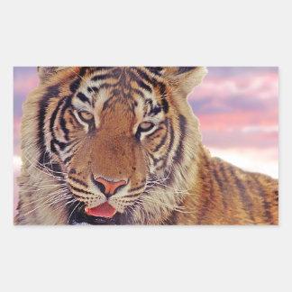 Tigre somnolent - sticker rectangulaire
